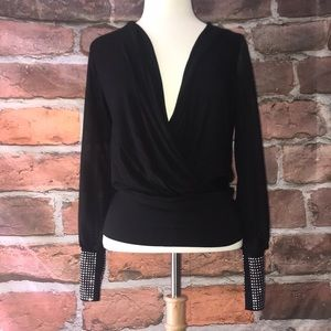 Tops - Black sheer sleeve studded cuff Top